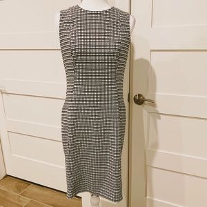 Calvin Klein square pattern black and white dress